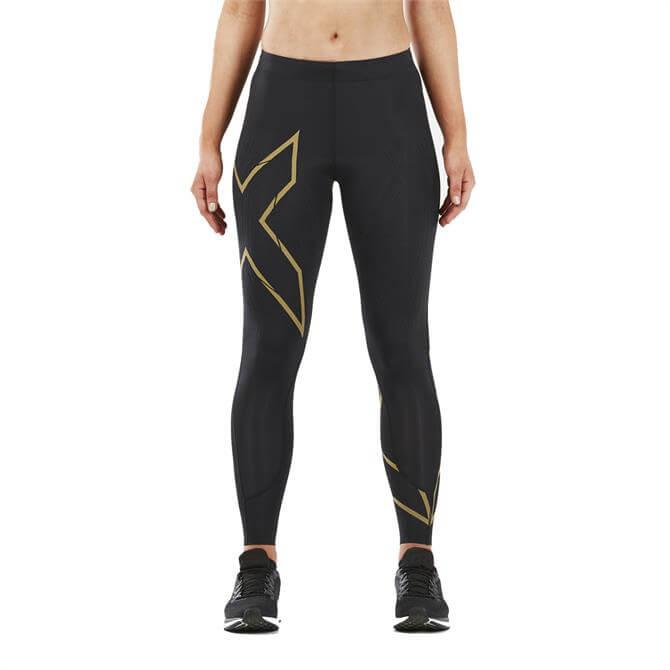 2XU Women's MCS Run Compression Tights - Black Gold Reflective