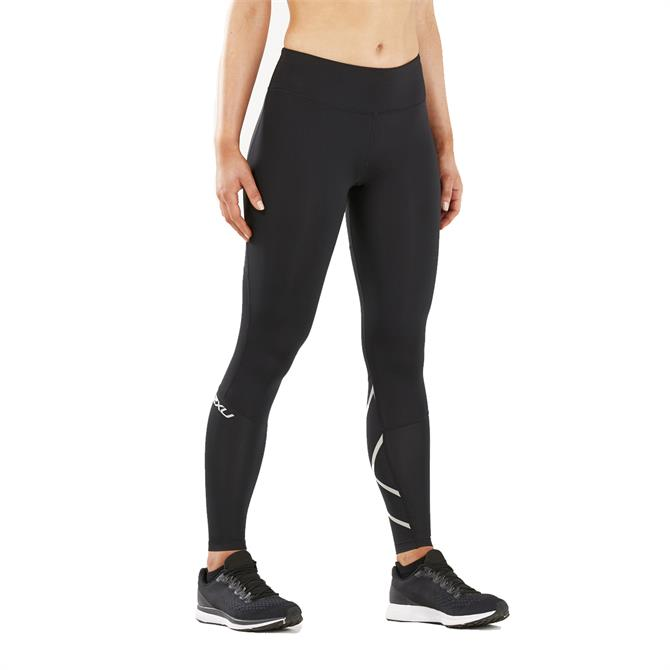 2XU Women's Mid Rise Compression Run Tights - Black Silver