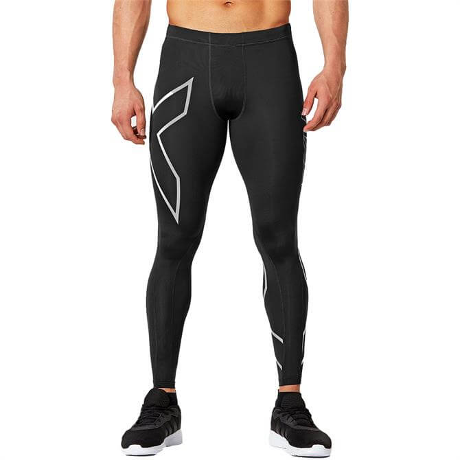 2XU Men's Core Compression Tights- Black/Silver