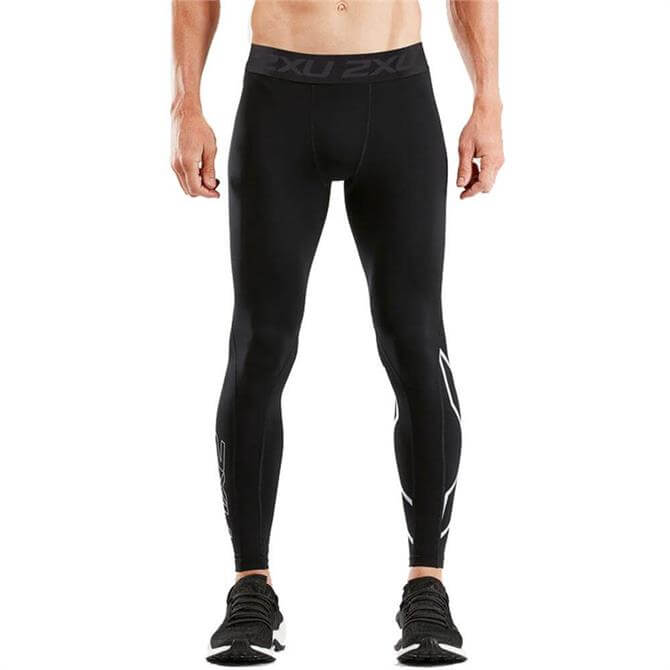 2XU Men's Thermal Accelerate Compressions Run Tights- Black/Silver