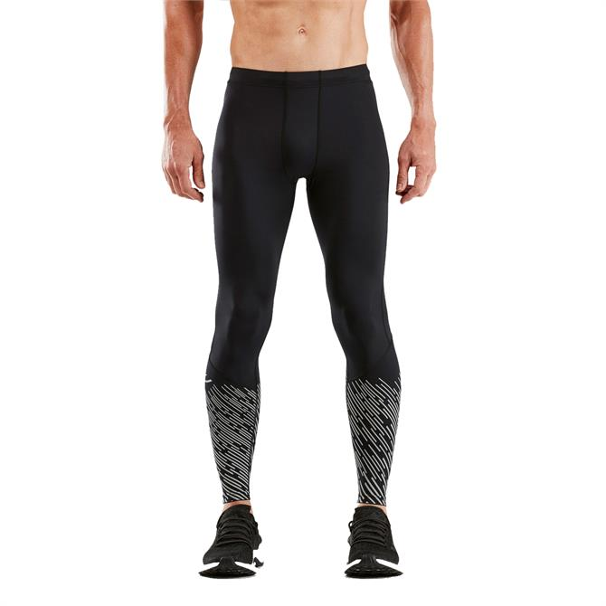 2XU Men's Reflect Run Mid-Rise Compression Tights- Black Silver