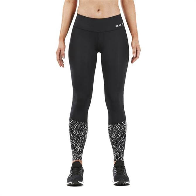2XU Women's Reflect Run Mid-Rise Compression Tights- Black Silver