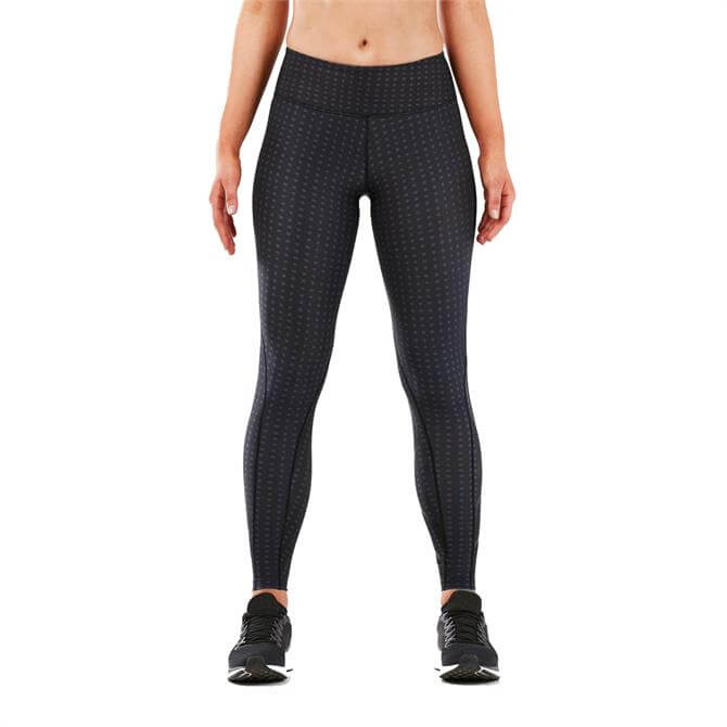 2XU Women's Print Mid Rise Compression Tights- Outer Space Urban Grid