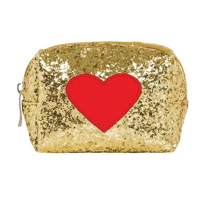 Emma Lomax Gold Red Heart Make Up Bag
