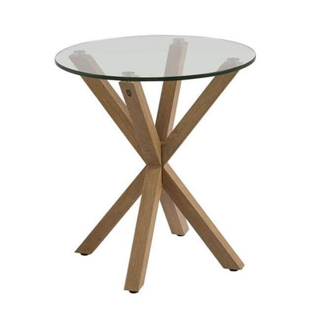 Helena Lamp Table Glass Top Oak Legs