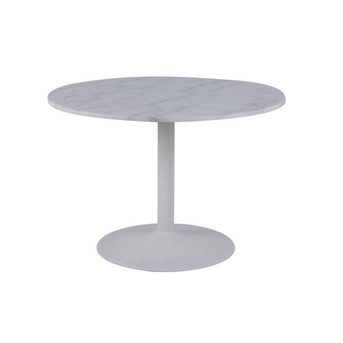 Tempest Round Marble Dining Table and Four Grey Chairs