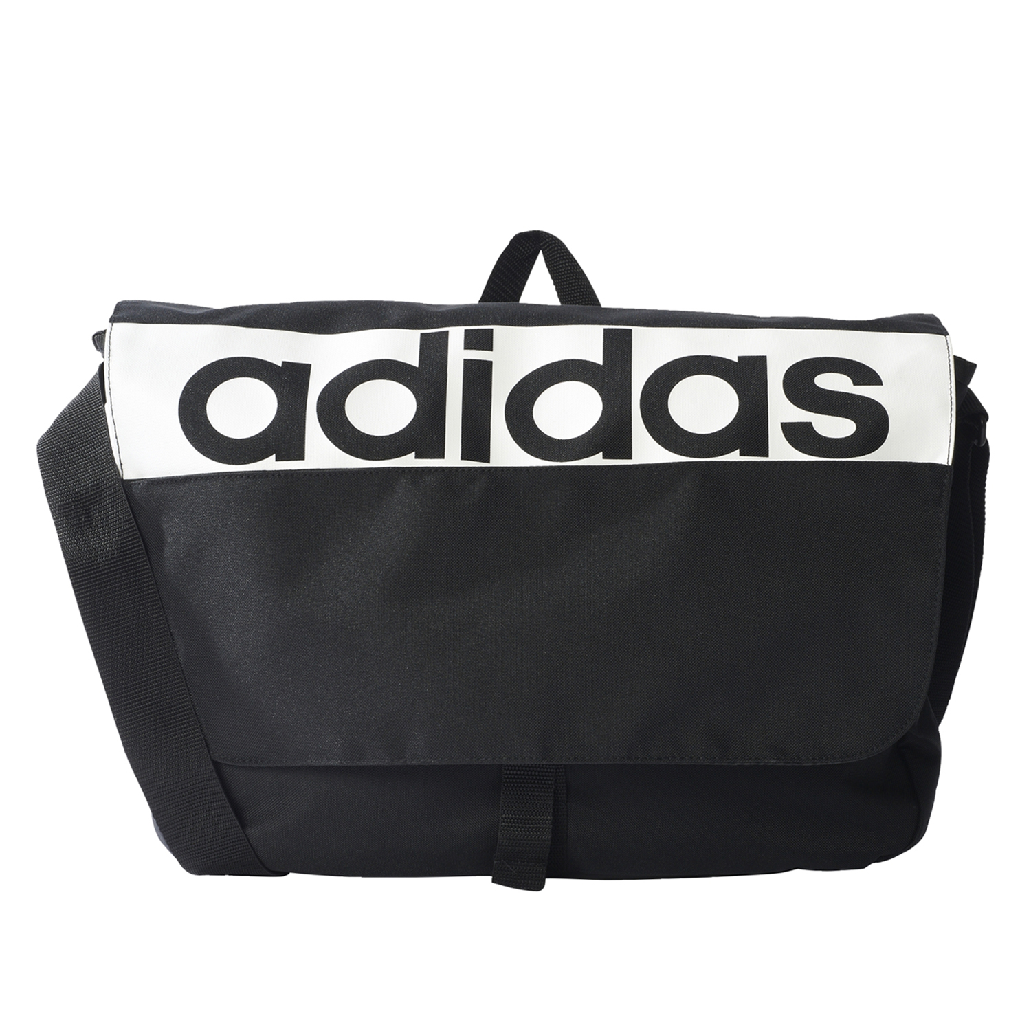 An image of Adidas Linear Performance Messenger Bag Black - One Size, BLK/WH