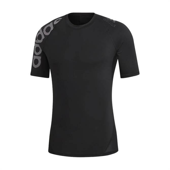 Adidas Men's Alphaskin Badge of Sport Short Sleeve T-Shirt - Black