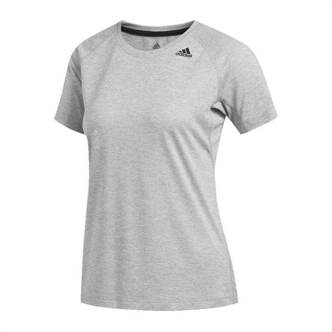 Adidas Women's Prime 3-Stripes Fitness T-Shirt - Multi Solid Grey