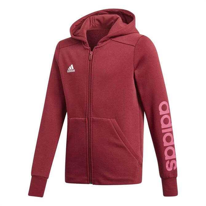 Adidas Girl's Essentials 3-Stripes Mid Hoodie- Noble Maroon