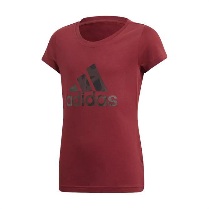 Adidas Junior Girl's Logo T-Shirts- Noble Maroon