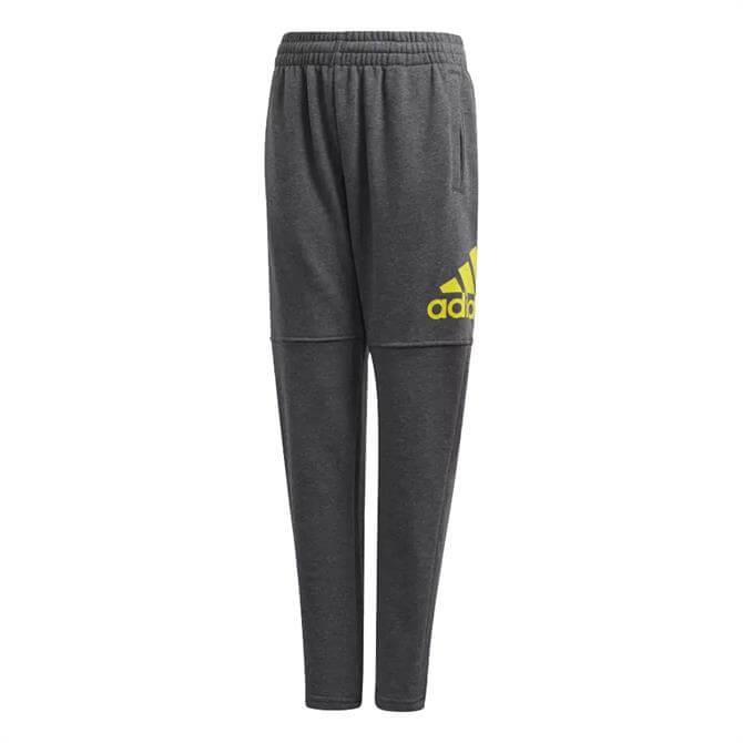 Adidas Kid's Essentials Logo Tracksuit Bottom- Dark Grey Heather