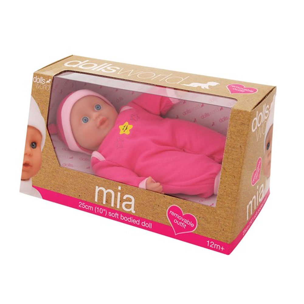 An image of Dolls World Mia Soft Doll 25cm