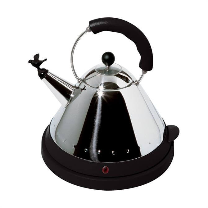 Alessi Stainless Steel Cordless Electric Kettle: Black