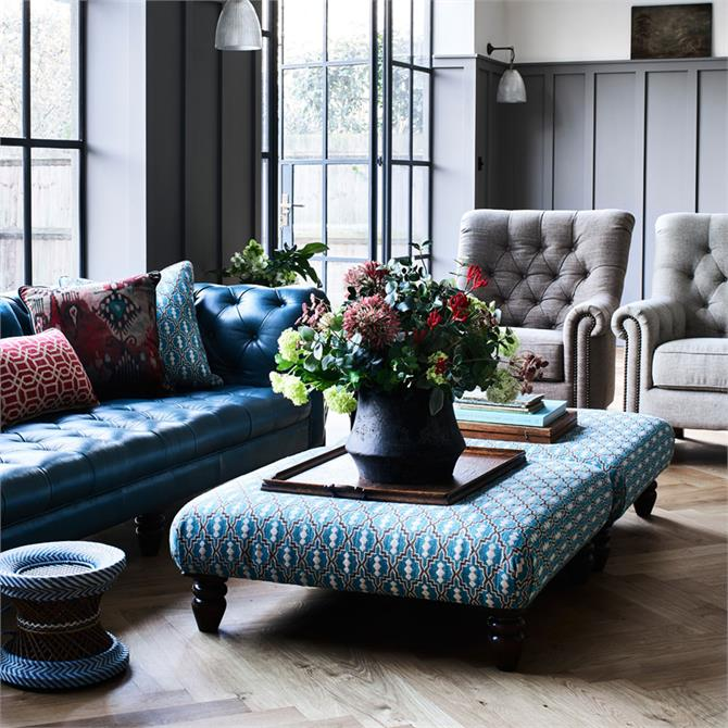 Bexley Footstool in Leather or Grade E Fabrics Candance Lyric Blue