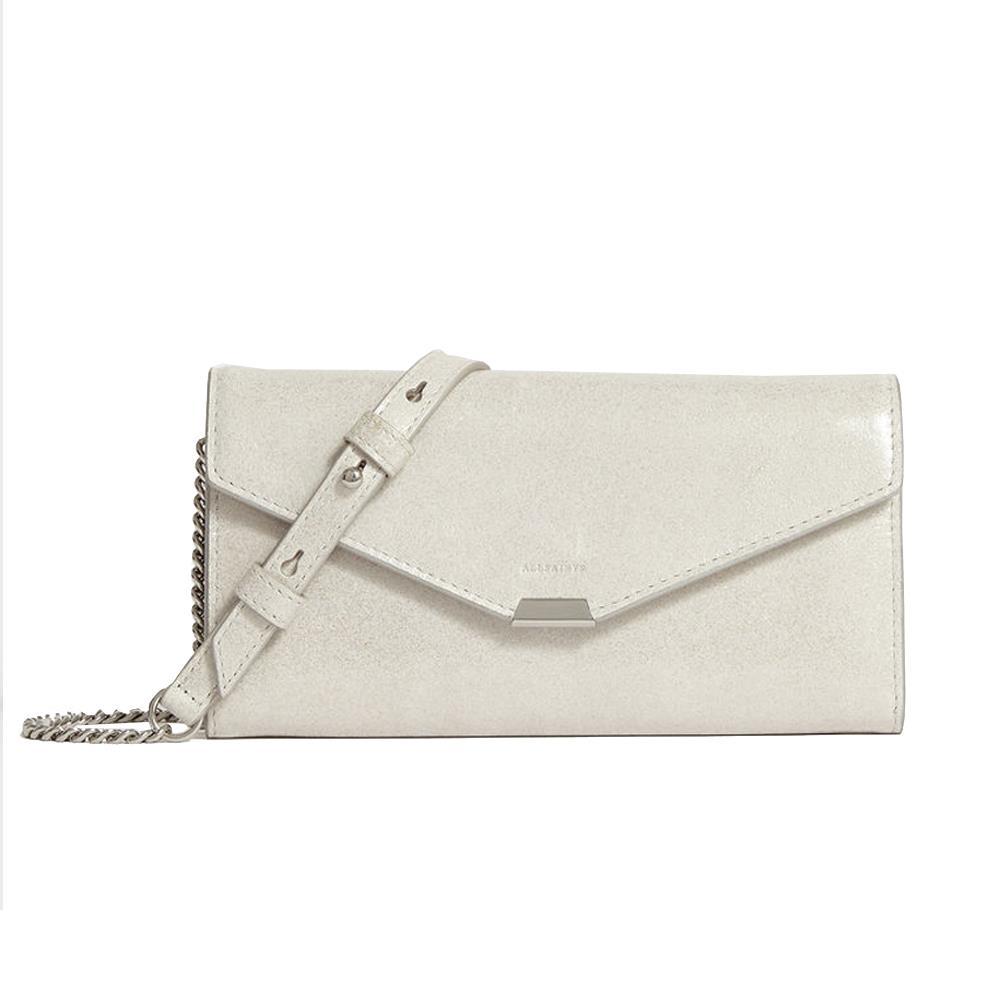 Allsaints Glitz Chain Wallet Silver Leather Crossbody Bag