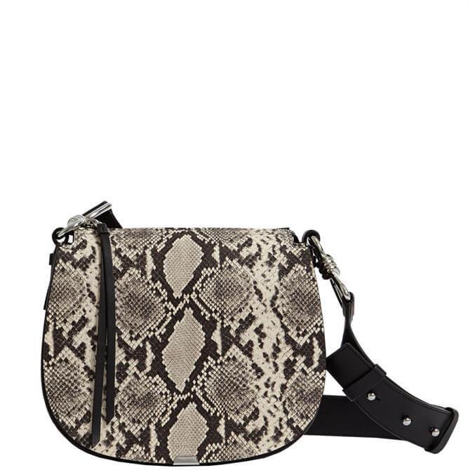 AllSaints Silver Suede Round Crossbody Bag