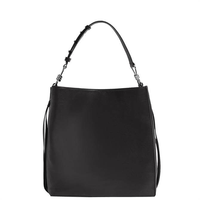AllSaints Black Tower Leather North South Tote Bag
