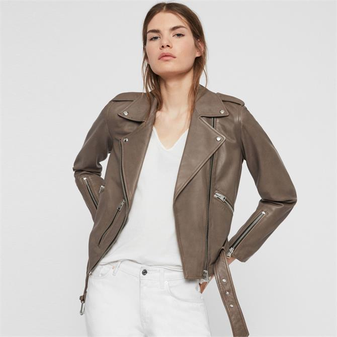 AllSaints Balfern Stone Leather Biker Jacket