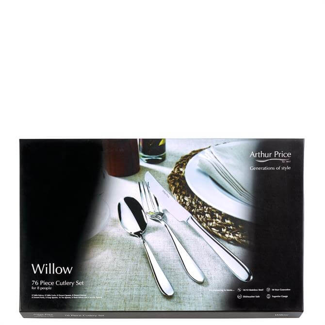 Arthur Price Willow 76 Piece Stainless Steel Cutlery Set