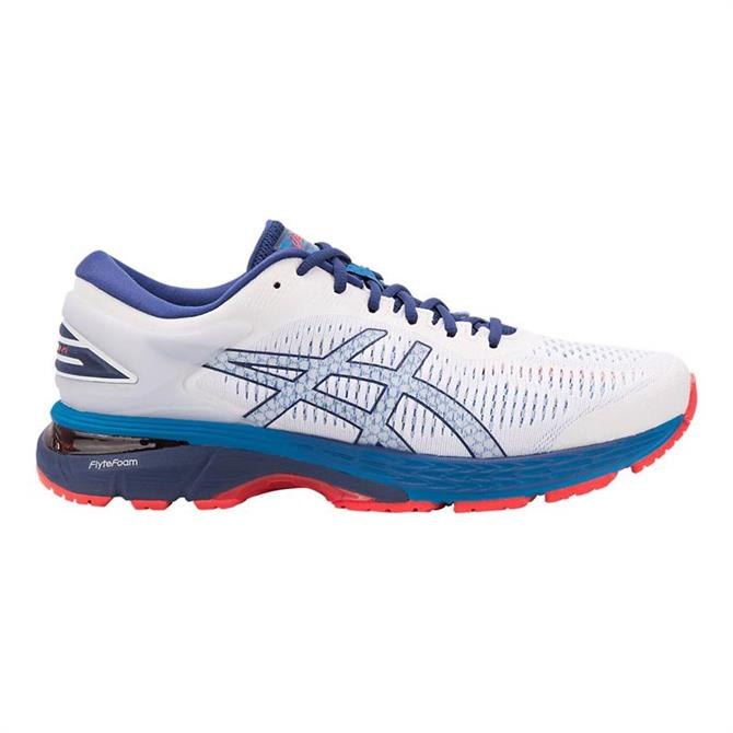 Asics Men's Gel-Kayano 25 Running Shoe- White/Blue Print