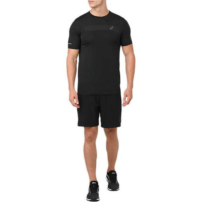 Asics Men's Seamless Texture Short Sleeve Running Top - Black