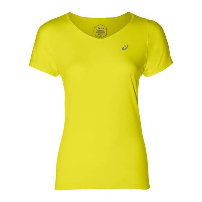 Asics Women's V-Neck Short Sleeve Performance T-Shirt - Spark Lemon