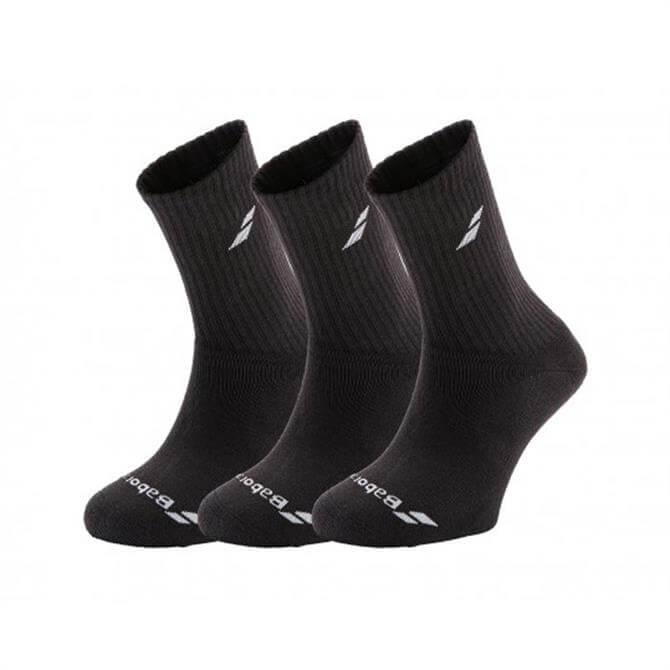 Babolat Men's 3 Pairs Pack Tennis Socks- Black