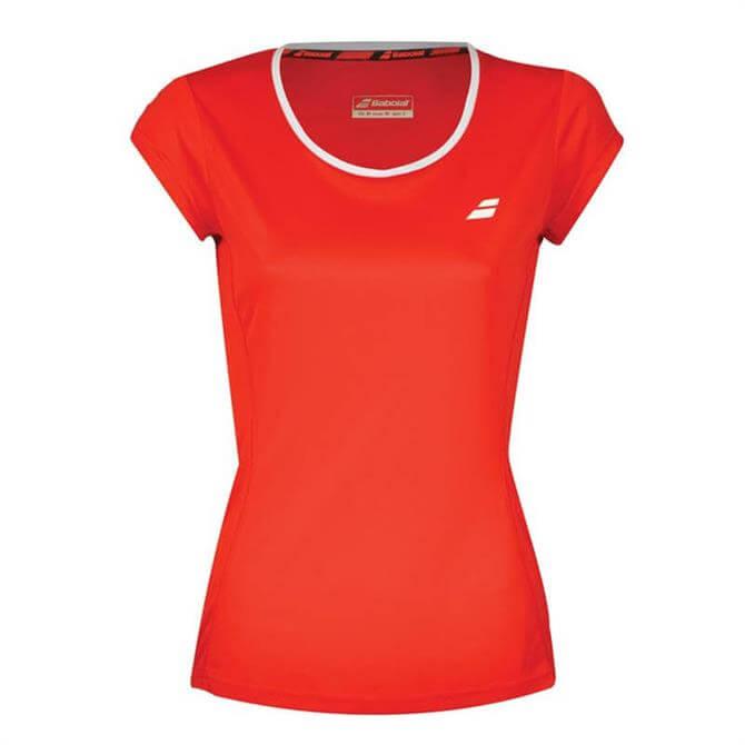 Babolat Women's Core Flag Tennis Short Sleeve- Fiery Red