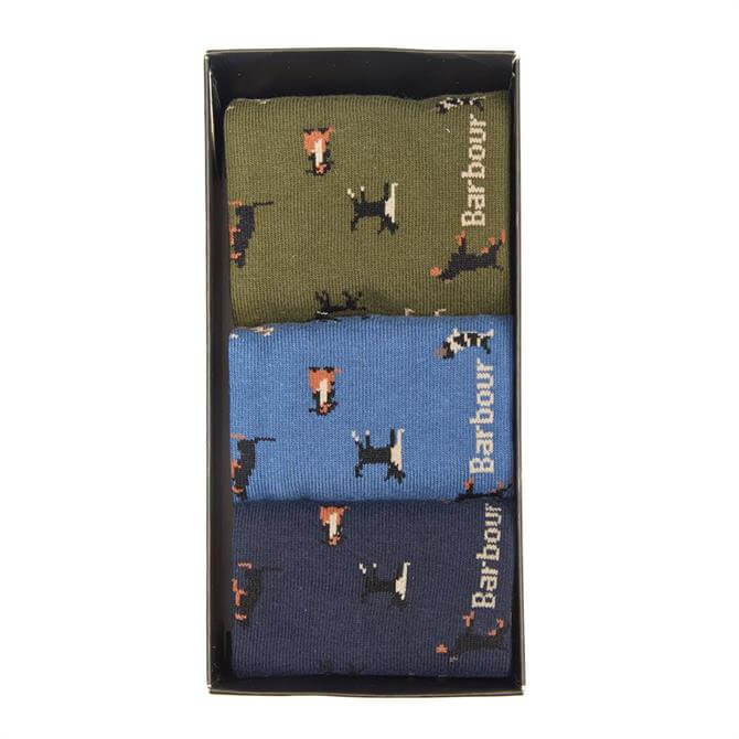 Barbour Men's Dog Motif Sock Gift Box Set
