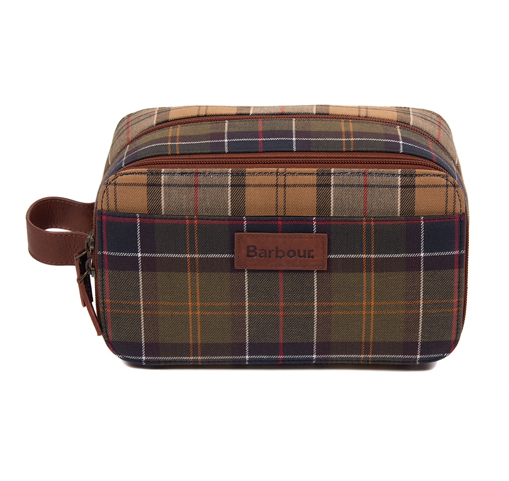 An image of Barbour Mixed Tartan Washbag - O/S, MIXED TARTAN