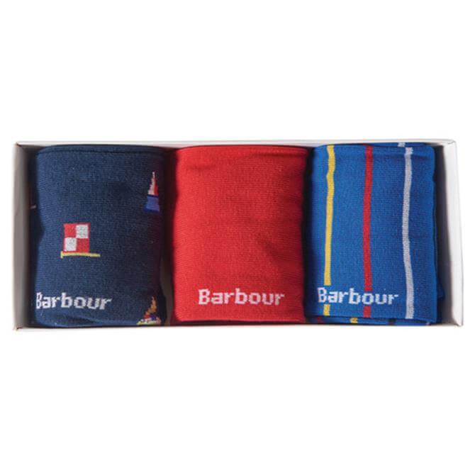Barbour Mens Flag Stripe Socks Gift Set