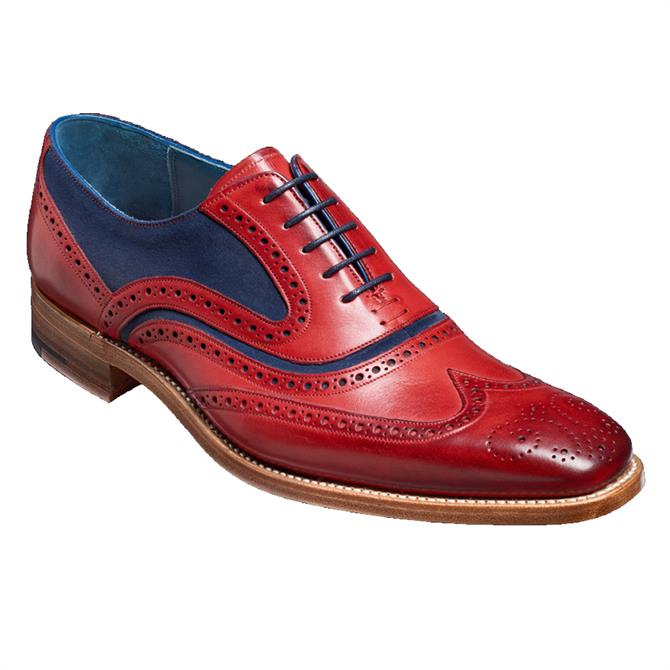 Barker McClean Brogue Shoe in Red/Navy