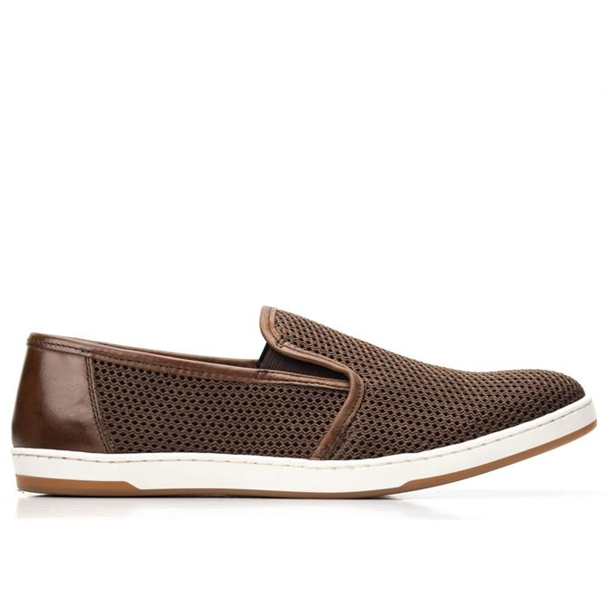 Base London Polka Mesh Men's Slip On Brown Shoe