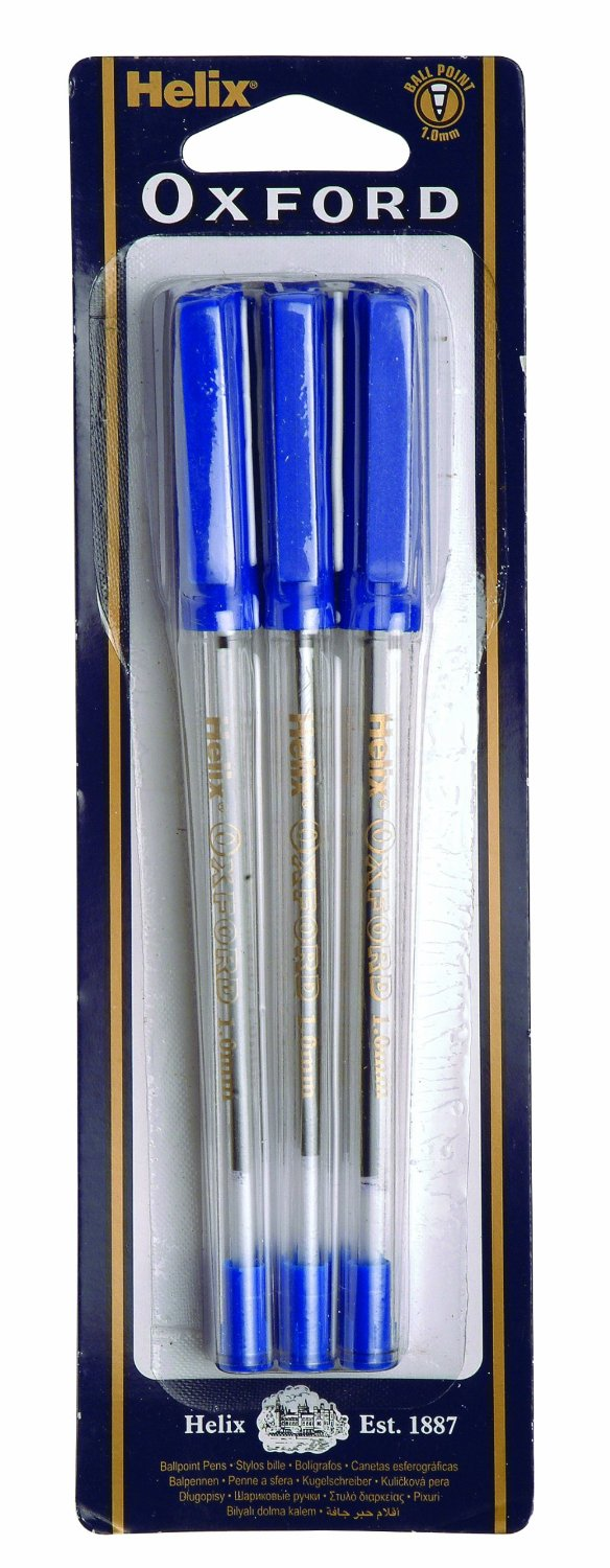 An image of Helix Oxford Blue Stick Pen - Pack of 6