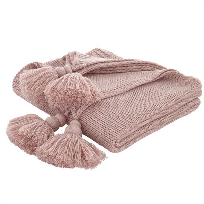 Bianca Blush Tassel Knit Throw
