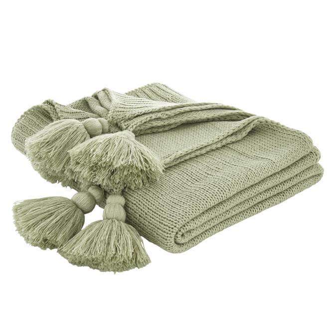 Bianca Green Tassel Knit Throw