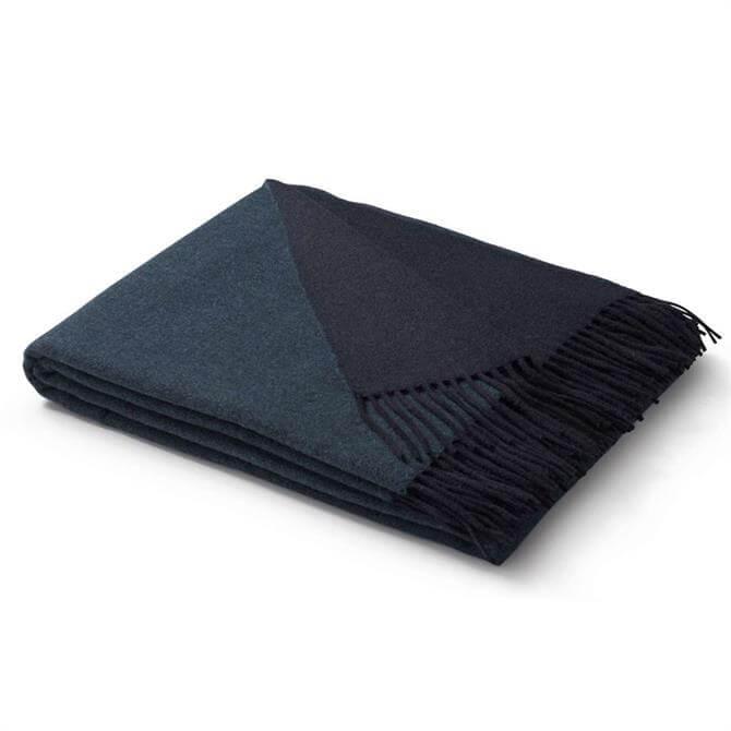 Biederlack Aqua/Marine Wool-Cashmere Blend Throw