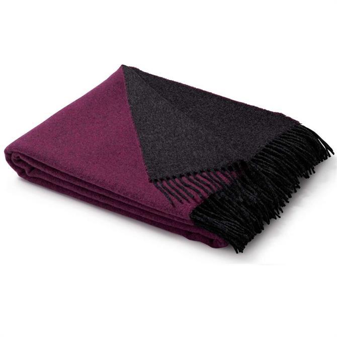 Biederlack Berry/Graphite Wool-Cashmere Blend Throw