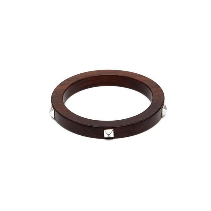 Branch Silver Studded Rosewood Bangle