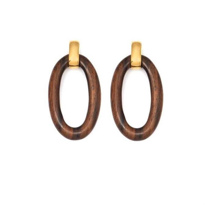 Branch Oval Rosewood Link Earring
