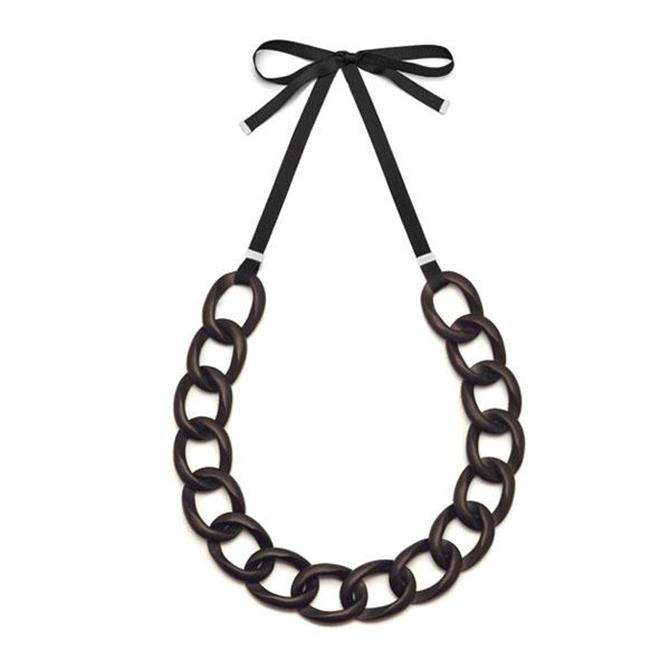 Branch Rosewood & Ribbon Curb Link Necklace