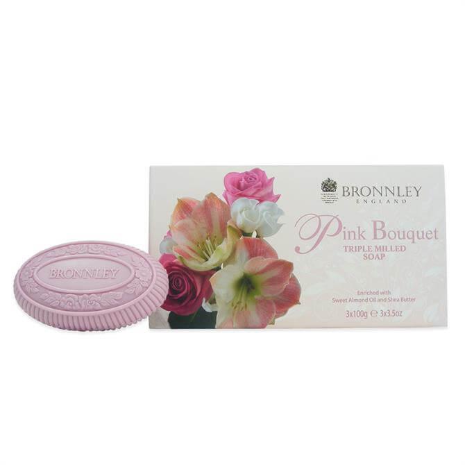 Bronnley Pink Bouquet Triple Milled Fine Eng Soap 3x100g
