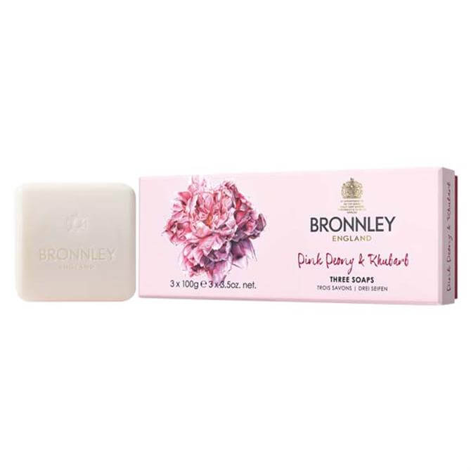 Bronnley RHS Pink Peony and Rhubarb Soaps 3x 100g