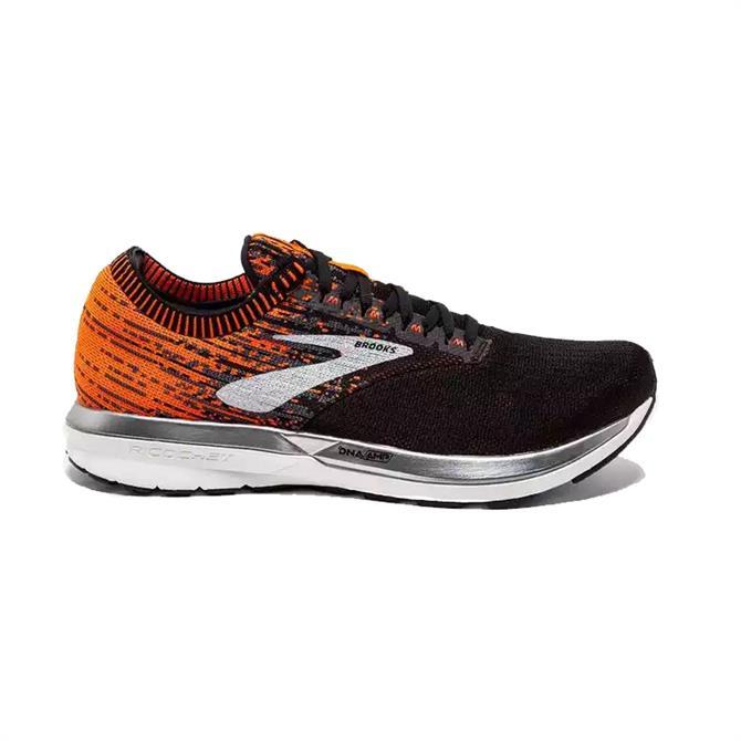Brooks Men's Ricochet Running Shoes- Black/Orange