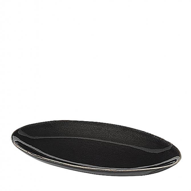 Broste Copenhagen Nordic Coal Stoneware Oval Plate