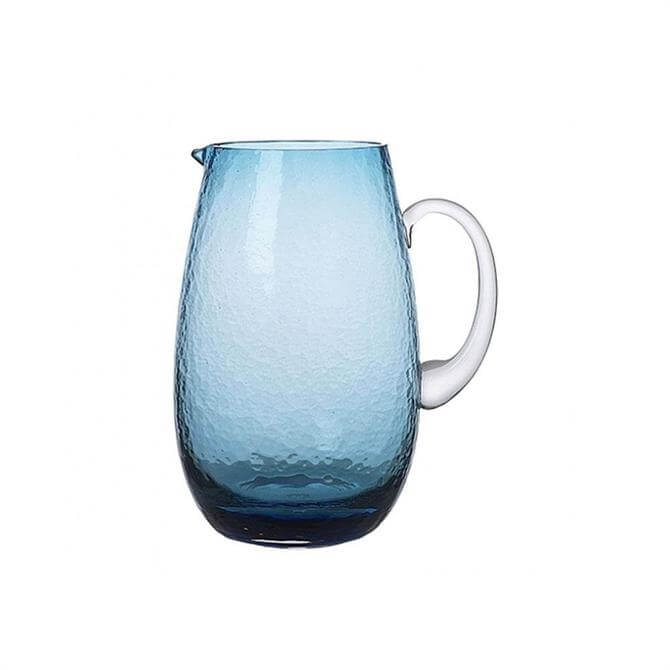 Broste Copenhagen Blue Hammered Glass Jug