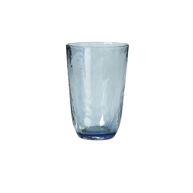 Broste Copenhagen Blue Hammered Glass Tumbler