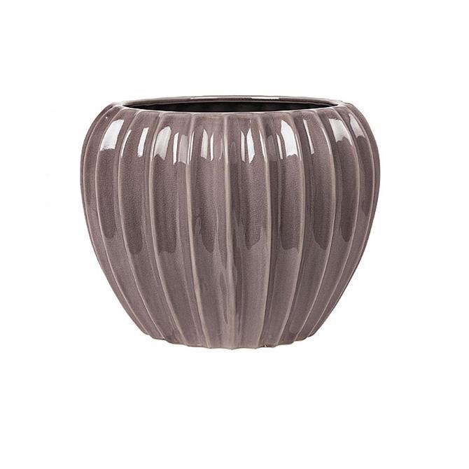 Broste Copenhagen Minimal Grey Wide M Stoneware Flowerpot