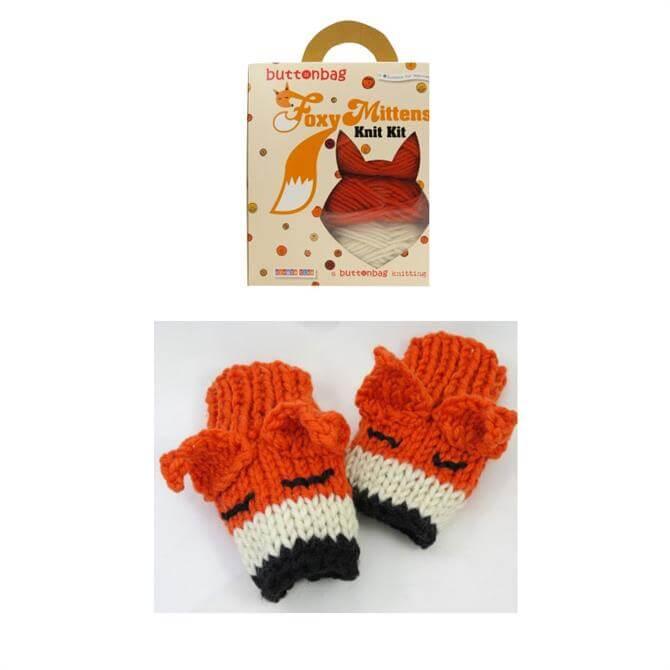 Button Bag Foxy Mittens Knitting Kit